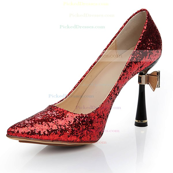 Women's Red Sparkling Glitter Pumps with Bowknot/Sparkling Glitter