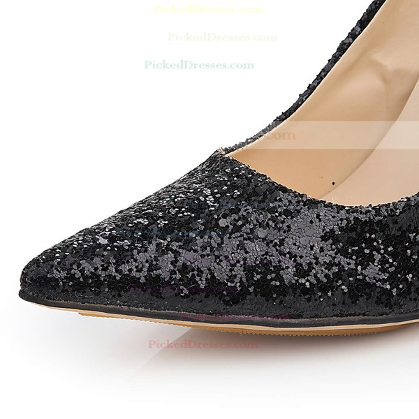 Women's Black Sparkling Glitter Pumps with Bowknot/Sparkling Glitter