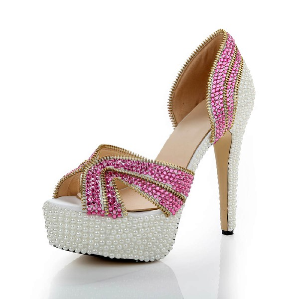 Women's Fuchsia Patent Leather Pumps with Crystal/Crystal Heel