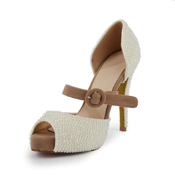 Women's Ivory Suede Pumps with Buckle/Imitation Pearl