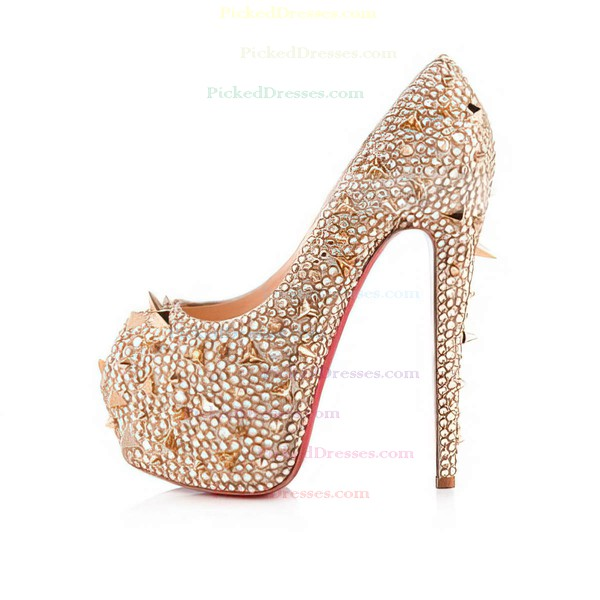 Women's Champagne Satin Pumps with Crystal/Crystal Heel/Rivet