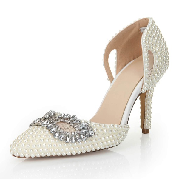 Women's White Patent Leather Pumps with Crystal/Hollow-out/Pearl #PDS03030554