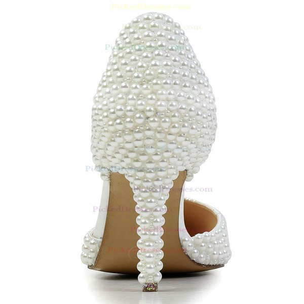Women's White Patent Leather Pumps with Imitation Pearl
