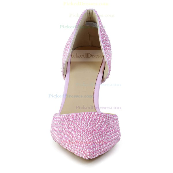 Women's Pink Patent Leather Pumps with Imitation Pearl