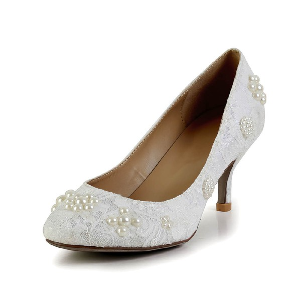 Women's White Lace Pumps with Pearl