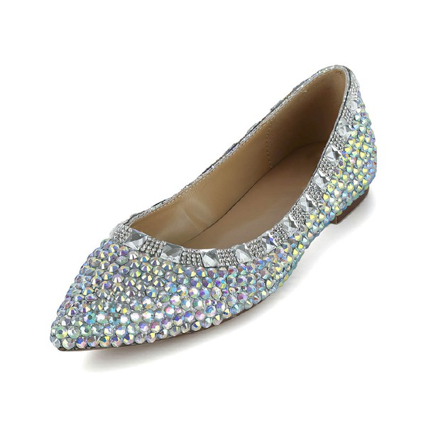 Women's Multi-color Patent Leather Flats with Crystal