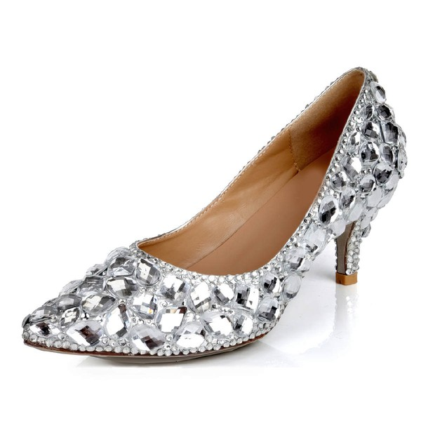 Women's Silver Real Leather Pumps with Crystal/Crystal Heel #PDS03030623