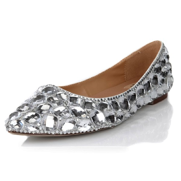 Women's Silver Real Leather Flats with Crystal