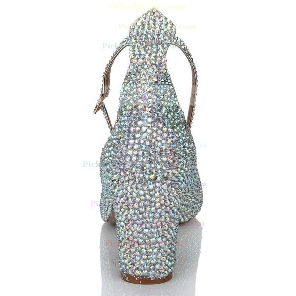 Women's Multi-color Real Leather Pumps with Buckle/Crystal/Crystal Heel