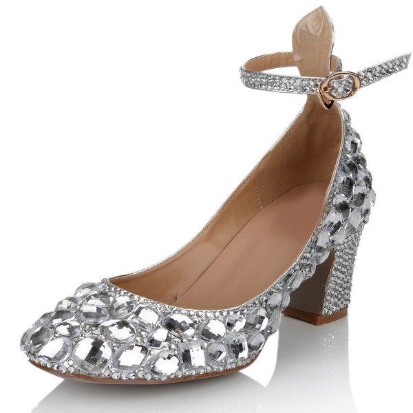 Women's Silver Real Leather Pumps with Buckle/Crystal/Crystal Heel