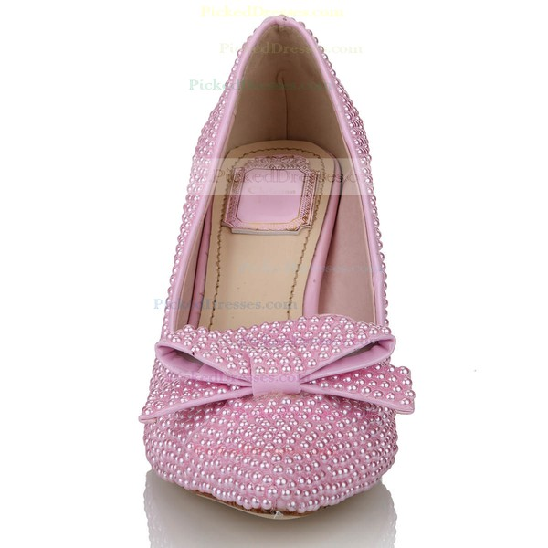 Women's Pink Patent Leather Pumps with Bowknot/Pearl