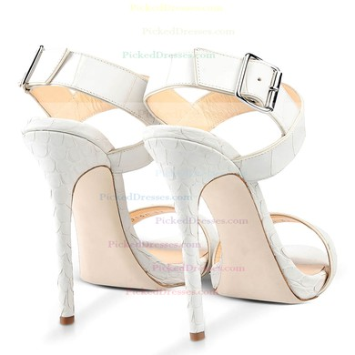 Women's White Real Leather Stiletto Heel Pumps #PDS03030721