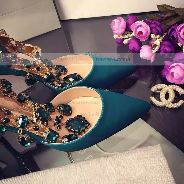 Women's Green Satin Stiletto Heel Pumps