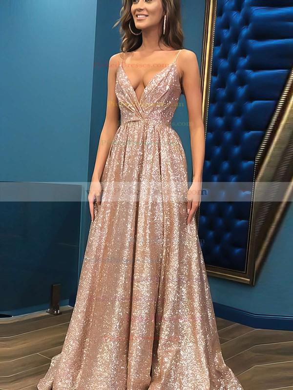 Princess V-neck Floor-length Shimmer Crepe Prom Dresses #PDS020106501