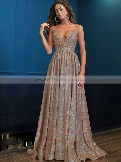 Princess V-neck Floor-length Shimmer Crepe Prom Dresses #PDS020106501