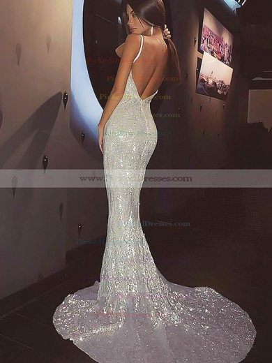 Sheath/Column V-neck Sweep Train Sequined Prom Dresses #PDS020106502