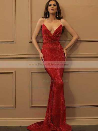 Trumpet/Mermaid V-neck Sweep Train Sequined Prom Dresses #PDS020106503