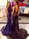 Trumpet/Mermaid Square Neckline Sweep Train Sequined Prom Dresses #PDS020106504
