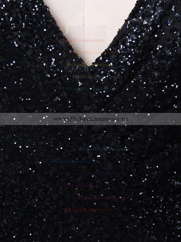 Ball Gown V-neck Sweep Train Glitter Pockets Prom Dresses #PDS020106505