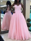 Princess V-neck Floor-length Glitter Beading Prom Dresses #PDS020106507
