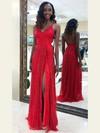 Sheath/Column V-neck Floor-length Glitter Split Front Prom Dresses #PDS020106508