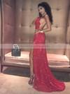 Sheath/Column Cowl Neck Sweep Train Sequined Split Front Prom Dresses #PDS020106509