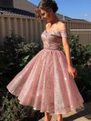 A-line Off-the-shoulder Tea-length Glitter Prom Dresses #PDS020106510