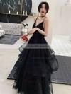 Princess V-neck Floor-length Glitter Cascading Ruffles Prom Dresses #PDS020106511