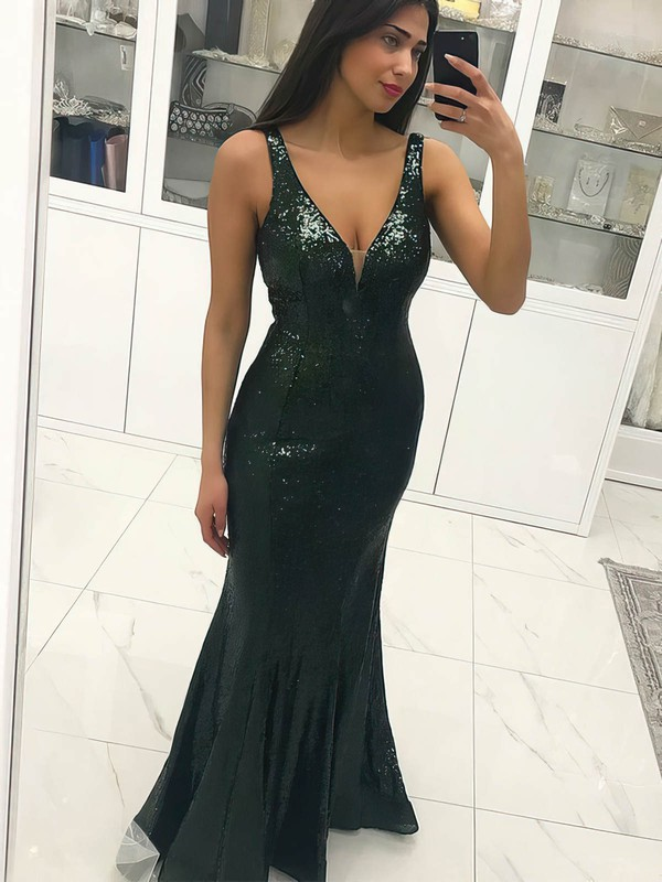 Trumpet/Mermaid V-neck Floor-length Sequined Prom Dresses #PDS020106512
