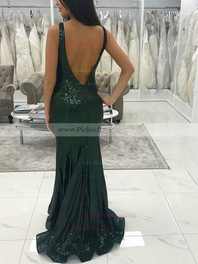 Trumpet/Mermaid V-neck Floor-length Sequined Prom Dresses #PDS020106512