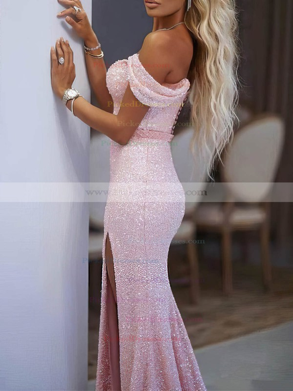 Trumpet/Mermaid Off-the-shoulder Floor-length Shimmer Crepe Sashes / Ribbons Prom Dresses #PDS020106513