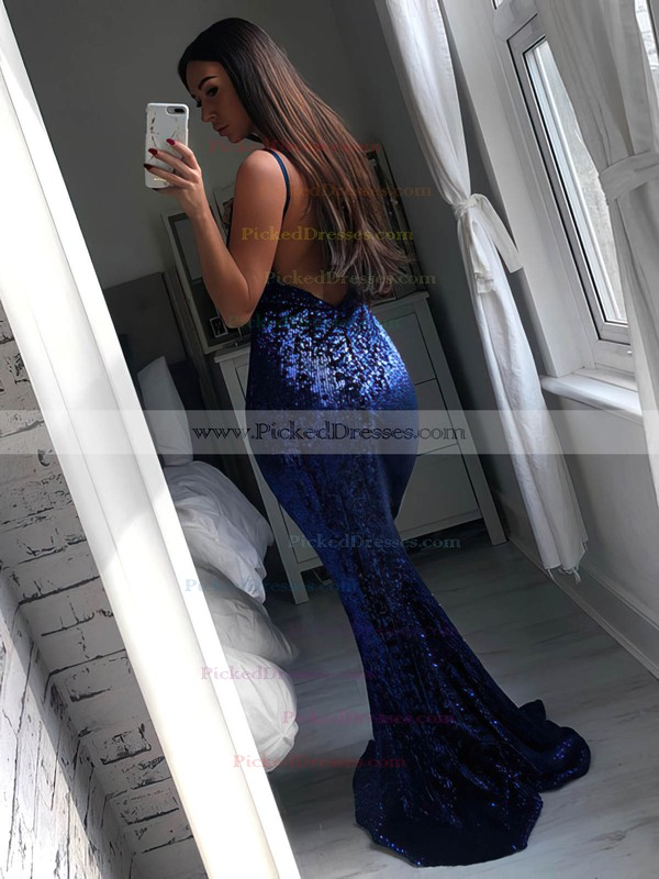 Trumpet/Mermaid V-neck Sweep Train Sequined Prom Dresses #PDS020106514