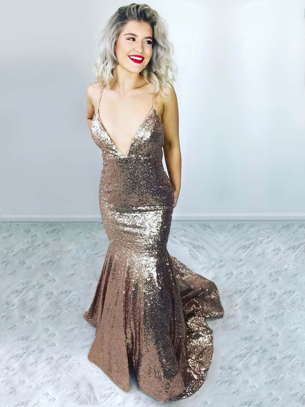 Trumpet/Mermaid V-neck Sweep Train Sequined Prom Dresses #PDS020106517