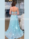 A-line Square Neckline Floor-length Sequined Split Front Prom Dresses #PDS020106518