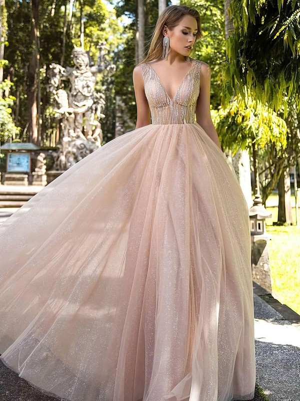 Princess V-neck Floor-length Tulle Glitter Beading Prom Dresses #PDS020106519