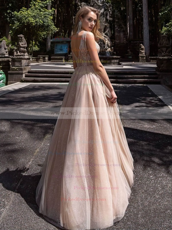 Princess V-neck Floor-length Tulle Glitter Beading Prom Dresses #PDS020106519