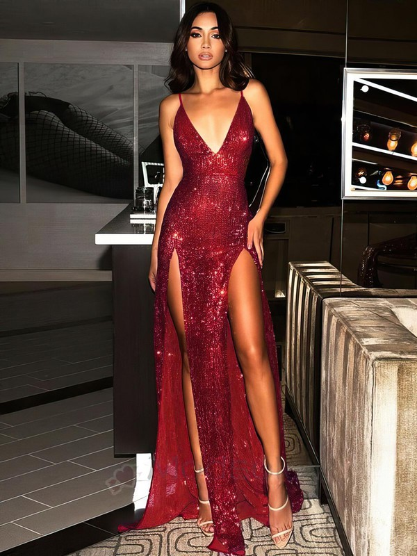Sheath/Column V-neck Floor-length Sequined Split Front Prom Dresses #PDS020106522