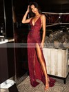 Sheath/Column V-neck Floor-length Sequined Split Front Prom Dresses #PDS020106522
