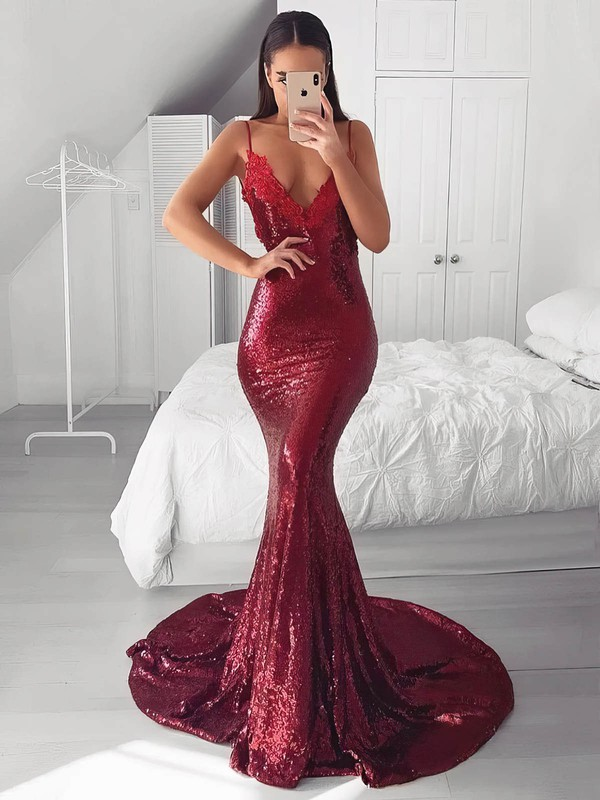 Trumpet/Mermaid V-neck Sweep Train Sequined Appliques Lace Prom Dresses #PDS020106523