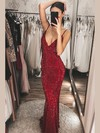Trumpet/Mermaid V-neck Floor-length Sequined Prom Dresses #PDS020106525