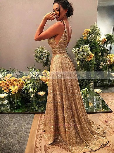 A-line V-neck Sweep Train Shimmer Crepe Beading Prom Dresses #PDS020106526