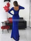 Trumpet/Mermaid Scoop Neck Floor-length Sequined Prom Dresses #PDS020106527
