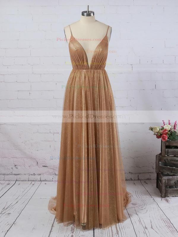 A-line V-neck Sweep Train Glitter Prom Dresses #PDS020106528