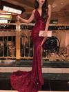 Trumpet/Mermaid Cowl Neck Sweep Train Sequined Split Front Prom Dresses #PDS020106529