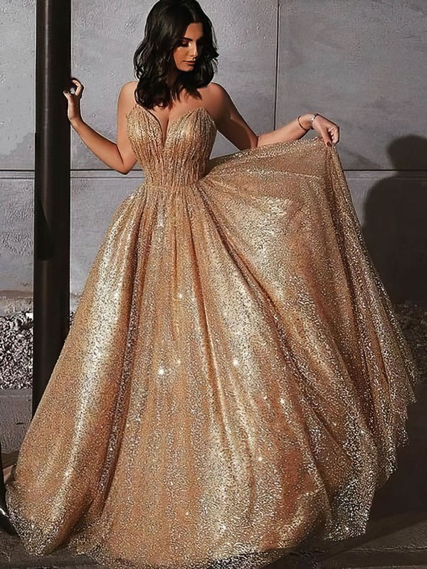 Princess V-neck Sweep Train Glitter Prom Dresses #PDS020106532