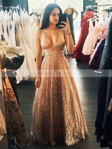 Princess V-neck Floor-length Glitter Beading Prom Dresses #PDS020106533