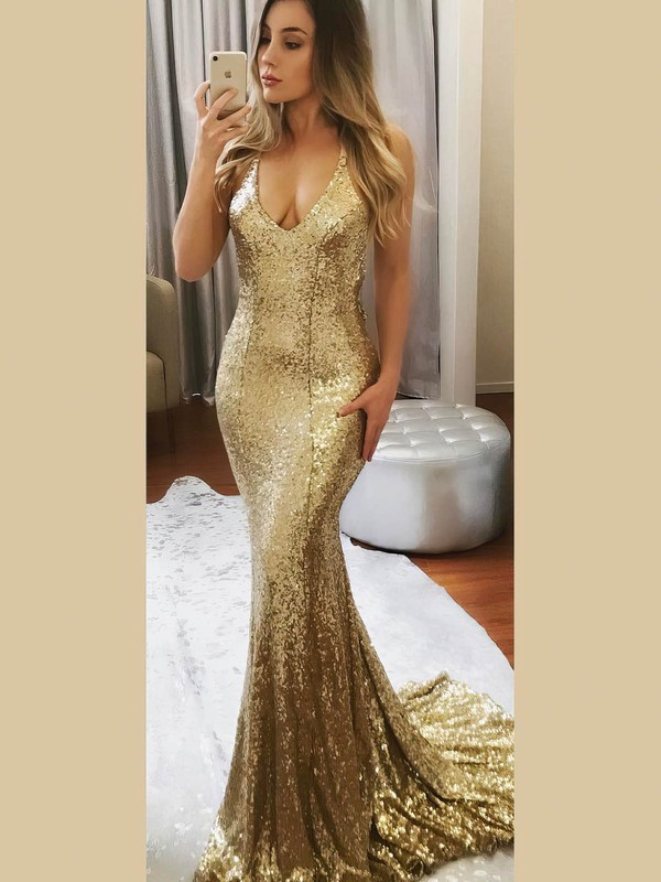 Trumpet/Mermaid Halter Sweep Train Sequined Beading Prom Dresses #PDS020106535