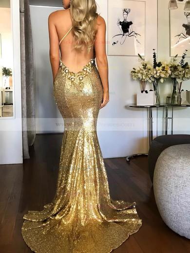Trumpet/Mermaid Halter Sweep Train Sequined Beading Prom Dresses #PDS020106535