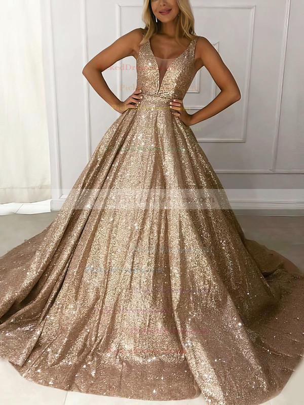 Ball Gown V-neck Sweep Train Glitter Prom Dresses #PDS020106536