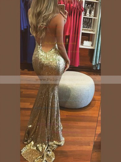 Trumpet/Mermaid Halter Sweep Train Sequined Prom Dresses #PDS020106537